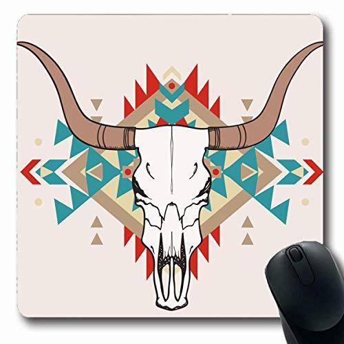 Luancrop Mousepad Oblong Ox American Bull Schädel Ethnisch Abstrakt Kopf Muster Native Buffalo Western Longhorn Bürocomputer Laptop Notebook Mauspad, rutschfestes Gummi -