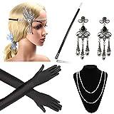 Beelittle 1920er Jahre Zubehör Set Flapper Stirnband, Halskette, Handschuhe, Zigarettenspitze Great Gatsby Zubehör für Frauen (D1)