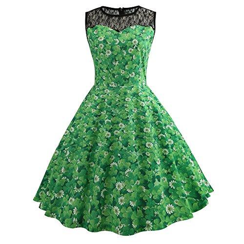 Frauen Lucky Shamrock und Schecks Drucken St. Patricks Day Kleid Farbe Kontrast ärmelloses Schwarz Mesh Patchwork Party Swing Kleid Kostüm (Patricks Day Kleider St)