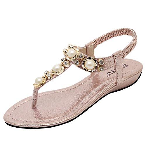 Weweya Femmes Strappy Strap Pearl Flat Jewelled Sandales Rose