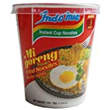 Indomie CUP NOODLES Fried Noodles 100%HALAL Mi Goreng 75g (2.6oz), Pack of 12