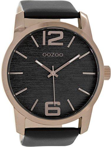 Oozoo Herrenuhr mit Lederband 48 MM Dunkel Rose/Schwarz/Schwarz C9088
