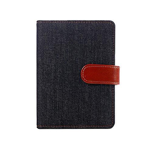Denim Stoff Cover Leder Diary Notebook mit Magnetverschluss/Karte Halterung/Stiftschlaufe, 14,3x 10,3cm schwarz -