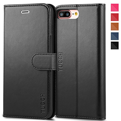 Custodia iPhone 8 Plus, Custodia iPhone 7 Plus, TUCCH Cover in Pelle con Interno TPU Antiurto [GARANZIA DI VITA], Supporto Stand, Carta Fessura e Flip Wallet Case per Apple iPhone 8 Plus/7 Plus - Nero Nero