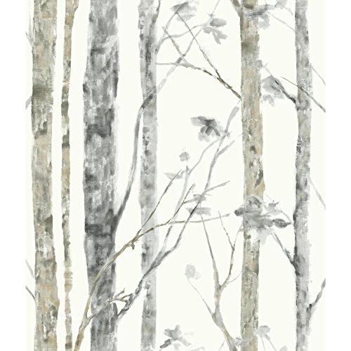Roommates rmk9047wp adesivo carta da parati adesiva alberi betulle facile da tavolo rimovibile riposizionabile riutilizzabile 1rotolo 5,03x 0,52m vinile multicolore 55x 17x 8,5cm