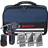 Bosch Professional GSR 12v-15 - Taladro de batería (LI-Ion 12 V, 1.5 Ah, 950 g) con 39 accesorios, 2 baterías, cargador y bolsa de transporte