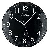 AMS Funk-Wanduhr, Holz, Mehrfarbig, 34 x 34 x 7 cm