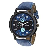 #7: Dezine Analogue Blue Dial Mens Blue Leather Watch - DZ-GR060-BLU-BLU