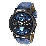 #6: Dezine Analogue Blue Dial Mens Blue Leather Watch - DZ-GR060-BLU-BLU