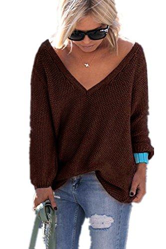 YACOPO Damen Herbst und Winter arbeiten lose mit langen Ärmeln V-Ausschnitt-PulloverSexy Pullover mit V-Ausschnitt Pulli tollen Farben - 12 Farben und 4 Größen (Strickjacke Lace Wolle)