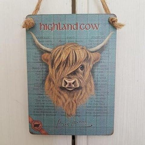 Retro Mini Metal Country Wildlife Highland Cow Hanging Decoration Sign 6.5x9cm