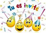Edition Colibri Invitations Smiley en Français Let's Have a Party, Lot de 10 Cartes d'Invitation rigolotes Smiley-/Émoticône pour Un Anniversaire des (10719 FR)...