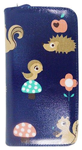 Kukubird Vari Gatti Unicorni Animali Ancora Ombrello Floreale Pattern Large Signore Borsa Frizione Portafoglio Critters Dark Blue