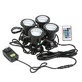 Fdit 4er 6Watt impermeabile acquario LED Spot luci acquario piscina da giardino sott' acqua, 24 Tasten Ir-controller, eu Stecker
