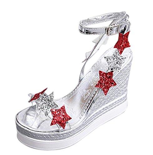 Sandale-plattform Silber (VJGOAL Damen Sandalen, Frauen Mädchen Mode Fünf-Stern Fisch Mund Plattform High Heels Wedge Slope Party Schuhe Frau Geschenk (34 EU, Silber))
