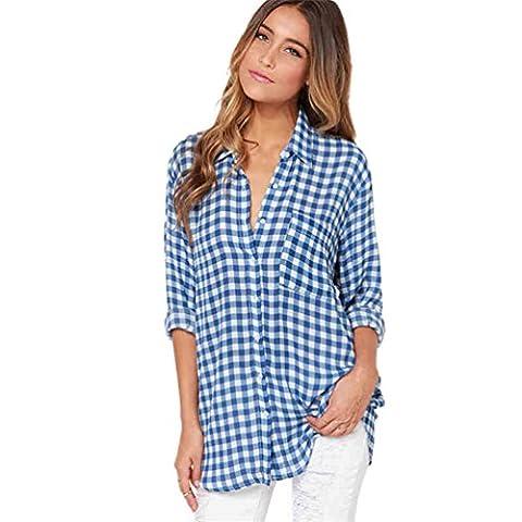 YOUJIA Chemisier Femmes Blouse Plaid Shirt Manche Longue Col chemise à patte boutonnée Shirts (Bleu,