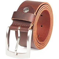 Cinturón de cuero de búfalo de 4 mm para hombres de Lindenmann marrón oscuro 120