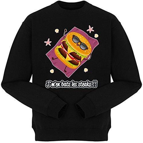 Pull Humoristique - Collection Humour et Fun par okiWoki - J'm'en bats les steaks !! - Pull Noir - Haute Qualité (878) Noir