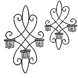 Wandkerzenhalter Wandteelichthalter 2erSet Metall schwarz Wandleuchter Windlicht
