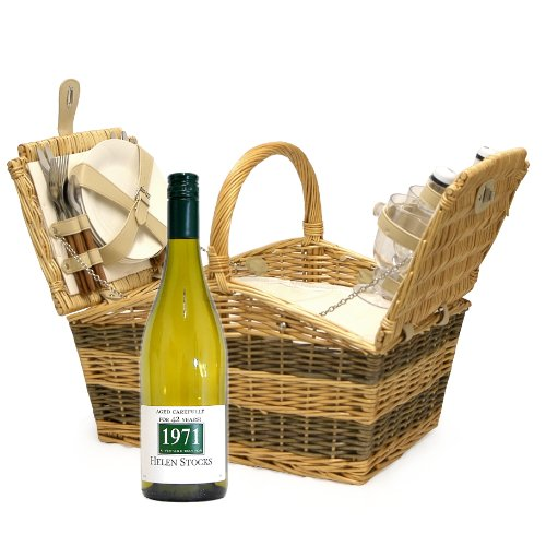 4 Person Luxury Swancote Chiller Picnic Basket Hamper with Personalised 750ml White Wine and Accessories - Gift Ideas for Christmas presents, Birthday, Anniversary, Wedding and Corporate