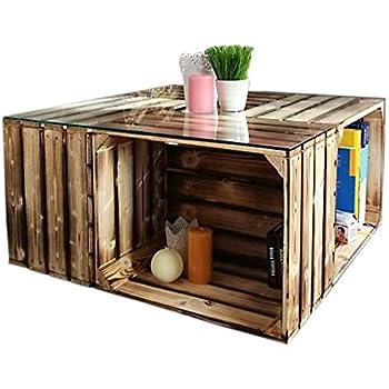 couchtisch aus geflammten apfelkisten auf rollen inkl glasplatte 81x81x44cm k che. Black Bedroom Furniture Sets. Home Design Ideas