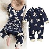 Bebé Manga Larga Mono, elecenty para bebé Niños Niñas Tops algodón Pelele pijama trajes, algodón, azul marino, 12-18 meses
