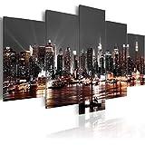 Cuadro 200x100 cm - 3 tres colores a elegir - 5 Partes - Formato Grande - Impresion en calidad fotografica - Cuadro en lienzo tejido-no tejido - City ciudad New York NYC Nacht d-A-0022-b-p 200x100 cm B&D XXL