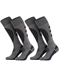 Tobeni 2 Paires Chaussettes Coolmax Snowboard Fonction Chaussettes Hautes pour les Femme et les Homme