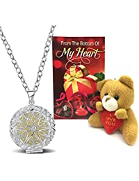 Peora Valentine's Day Gift Hamper Combo Of Glow-In-The-Dark Pendant With Teddy Bear & Greeting Card For Girlfriend...