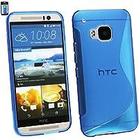 Emartbuy® HTC One M9 LCD Displayschutz And Ultra Slim Griff Gel Haut Abdeckung Blau
