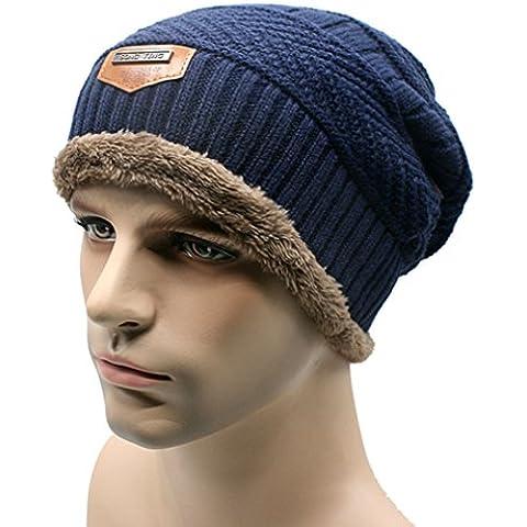 Unisex Hombre de punto caliente flexible cable de esquí sombrero grueso gorro de lana (Armada)