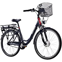 Telefunken E-Bike Damen Elektrofahrrad Alu, mit 7-Gang Shimano Nabenschaltung, Pedelec Citybike Leicht mit Fahrradkorb, 250W und 13Ah, 36V Lithium-Ionen-Akku, Reifengröße: 28 Zoll, RC657 Multitalent