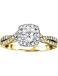 Silvernshine 1.29 Carat White Diamond CZ 14k Yellow Gold Plated Wedding Engagement Ring
