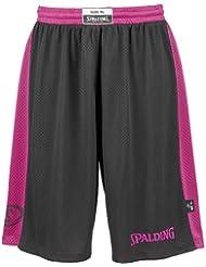 Spalding Essential Reversible Short de Juego, Mujer, Negro / Rosa, 164