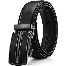 Xhtang - Cinturón Para Hombre de Cuero Piel con Hebilla Deslizante Automática.35mm Ancho