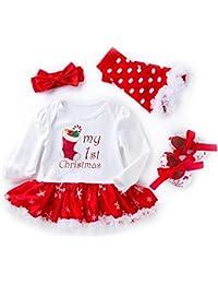 UMIWE Santa Claus Vestidos Navidad Pelele Bebé Niñas en Rojo Blanco Verde Colores con Venda Mameluco Calentadores de piernas Zapatos