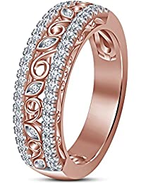 Vorra Fashion Engagement Wedding Band Ring For Ladies In Solid 14K Rose Gold Plating
