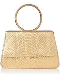 SwankySwans  Piper Snakeskin Pu Leather Clutch Bags Gold, Sac femme