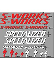 PEGATINAS SWORKS BICI R84 STICKERS AUFKLEBER DECALS AUTOCOLLANTS ADESIVI (ROJO-BLANCO)
