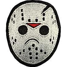 PARCHE BORDADO Jason Voorhees máscara de hockey hierro bordado en la insignia de la película de terror de parche Viernes 13 frente a la decoración de ...