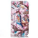 Rabat Style Portefeuille Samsung Galaxy A5 (2016) / A510 Coque Protection ( Rose ) Anti Choc, Carte Titulaire PU Cuir Poids léger Case Cover, Chat et fleur rose Motif
