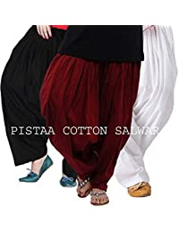 Pistaa Combo Of 3 Womens Solid Cotton Mix Best Indian Ethnic Comfortable Readymade Punjabi Semi Patiala Salwar