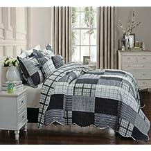 Juego de colcha de cuadros azul marino y plateado, 2 fundas de almohada, tamaño 255 x 275 cm, tamaño Super King Tango