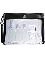 TRAVANDO ® Kulturtasche transparent mit 7 Behältern (max. 100ml) - 1L Kosmetiktasche für Flüssigkeiten - Entspricht internationalen Flugsicherheitsvorschriften für Handgepäck - Flugzeugbeutel Ryanair