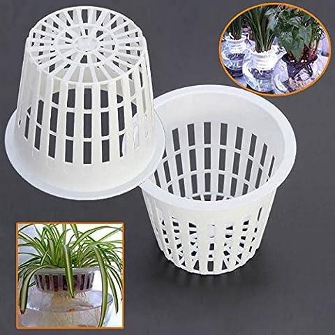 Bluelover 10pcs de siembra hidropónica plástico blanco malla red maceta cestas jardín planta crece taza