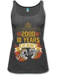Spreadshirt 2000 18 Years Of Being Awesome Birthday Quote Women's Premium Tank Top
