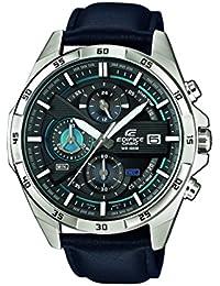 Reloj Casio Edifice con correa de piel negra y WR 100M