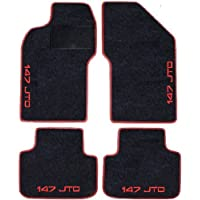Alfombrillas para Alfa Romeo 147 JTD negras con borde rojo. Juego completo de alfombrillas de