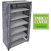 LGV Scarpiera 6 RIPIANI Salvaspazio Porta Scarpe in Tessuto TNT 61 x 30 x 107 cm GRIGIO Enrico Coveri / NEW MODEL