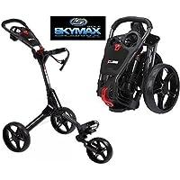 Sky Max Cube 3 Wheel Black/Black Golf Trolley Pull/Push New + Travel Cover &Tee Pack